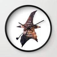 the hobbit Wall Clocks featuring The Hobbit by Ida Rotli