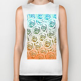 blooming rose pattern texture abstract background in blue and pink Biker Tank