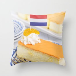 Orange tompouce, traditional Dutch pastry, on a rustic table Throw Pillow