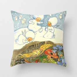 """Snowflake Babies Listening for Spring"" by Ida Bohatta Morpurgo  Throw Pillow"