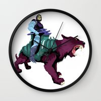 skeletor Wall Clocks featuring Skeletor x MrWetpaint by Mr Wetpaint