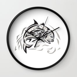 Giant Trevally Jumping Down Tribal Art Wall Clock