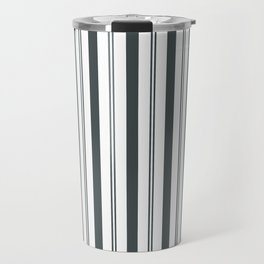 PPG Night Watch Pewter Green & White Wide & Narrow Vertical Lines Stripe Pattern Travel Mug