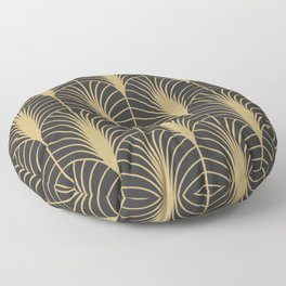 Arches in Charcoal and Gold Floor Pillow