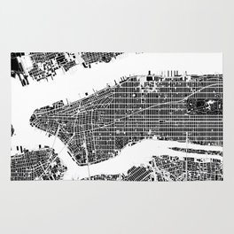 New York city map black and white Rug