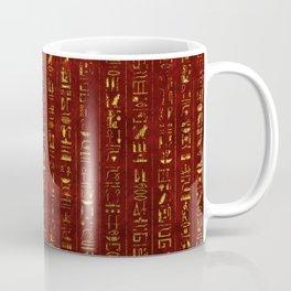 Golden Egyptian  hieroglyphics on red leather Coffee Mug