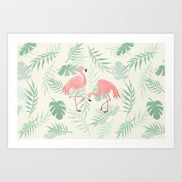 Flamingo Love Tropical Art Print