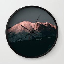 First Light on Mount Rainier Wall Clock