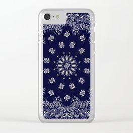 Paisley - Bandana - Navy Blue - Southwestern - Cowboy Clear iPhone Case