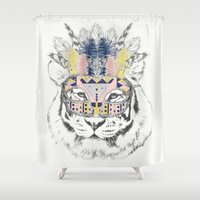 allyson johnson Shower Curtains featuring Hidden Tiger by Luca Johnson by Lucinda Saunders Design