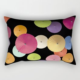 Colorful Paper Umbrella Abstract Rectangular Pillow