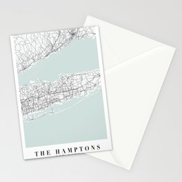 The Hamptons New York Blue Water Street Map Stationery Cards