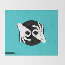 Sign Language (ASL) Interpreter – White on Black 11 Throw Blanket