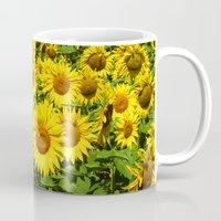sunflowers Mugs featuring Sunflowers. by Assiyam