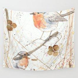 Kleine rote Vögelchen (Little red birdies) Wall Tapestry