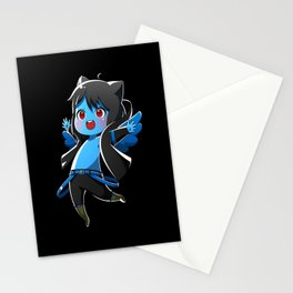 Chibi Luc (Expression 1) w/ Black Background Stationery Cards