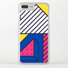 Festive Background in Neo Memphis Style Colorful Decorative pattern Clear iPhone Case