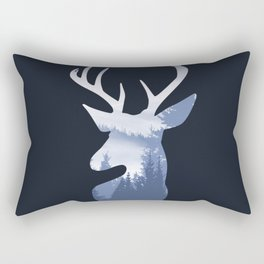 Deer Abstract Blue Landscape Design Rectangular Pillow
