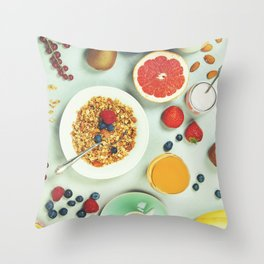 Healthy breakfast ingredients Throw Pillow