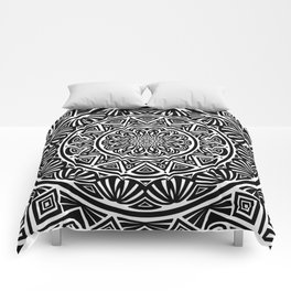 Black and White Simple Simplistic Mandala Design Ethnic Tribal Pattern Comforters