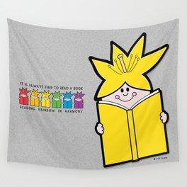 Reading Rainbow in Harmony - Yellow Wall Tapestry