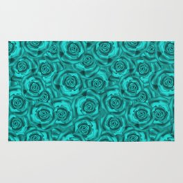 Bright turquoise roses Rug