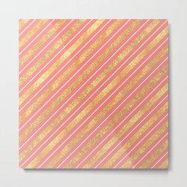 Modern elegant faux gold glitter coral geometric stripes Metal Print