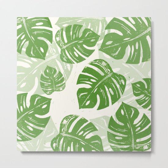 Linocut Monstera Leaf Pattern Metal Print