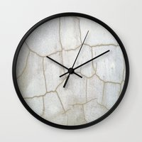 cracked Wall Clocks featuring Cracked  by Ethna Gillespie