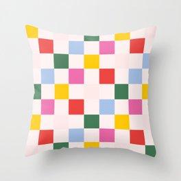 Retro Bauhaus Pattern | Abstract Shapes | Geometric Checks Throw Pillow