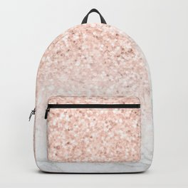 She Sparkles Rose Gold Pink Marble Luxe Backpack