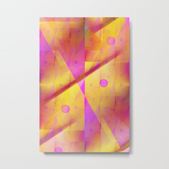 Geometric pattern pink and orange  Metal Print
