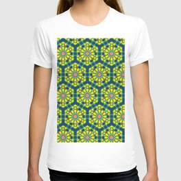 moroccan Pattern tile green yellow and blue T-shirt