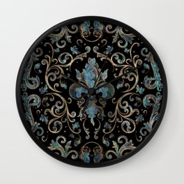 Fleur-de-lis ornament Abalone Shell and Gold Wall Clock