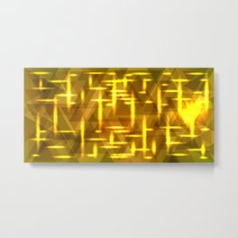 Golden cross on a yellow metal background. Metal Print
