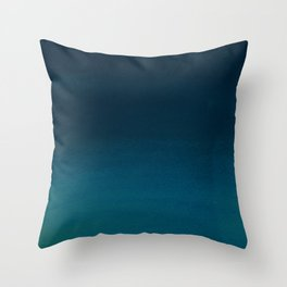 Navy blue teal hand painted watercolor paint ombre Throw Pillow