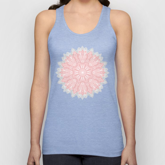 MANDALA IN GREY AND PINK Unisex Tank Top
