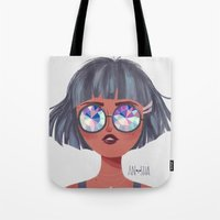 kaleidoscope Tote Bags featuring Kaleidoscope by Anoosha Syed