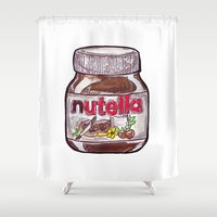nutella Shower Curtains featuring Nutella by Snack Paintings