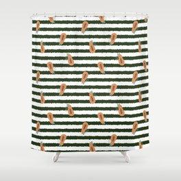 Pretty Papaya Stripes Shower Curtain