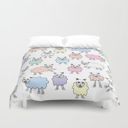 Colorful Counting Sheep Bedtime Pattern Duvet Cover