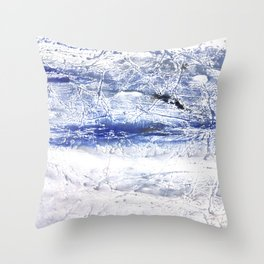 Gray Blue Marble nebulous watercolor Throw Pillow