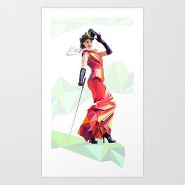Polygone lady 2 Art Print