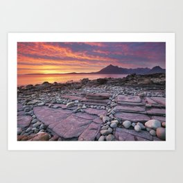 III - Spectacular sunset at the Elgol beach, Isle of Skye, Scotland Art Print