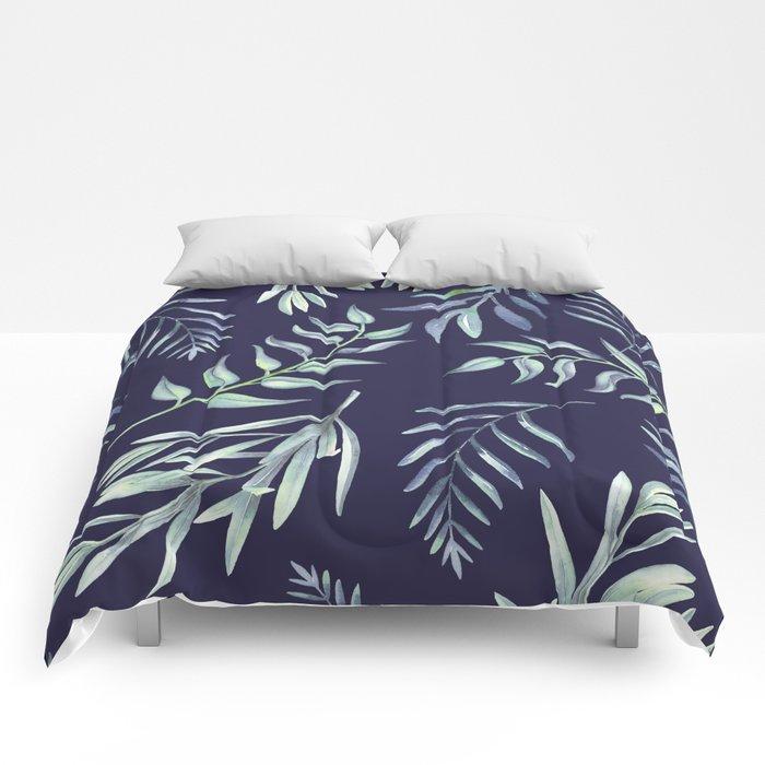 Floating Leaves Blue 2 #society6 #buyart Comforters