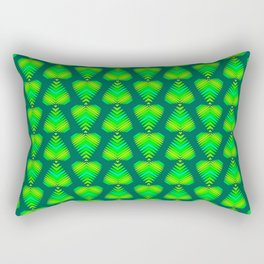 Pattern of green and lime hearts and iridescent stripes. Rectangular Pillow