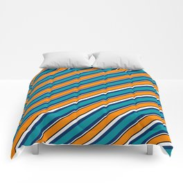 TEAM COLORS 1…Teal navy white and orange stripe Comforters