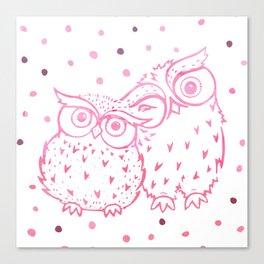 Owls - Pink Canvas Print