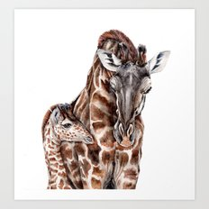 Giraffe with Baby Giraffe Art Print