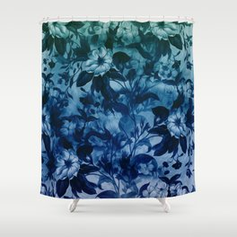 Blossoming flowers print in blue Shower Curtain